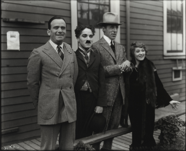 February 5, 1919: The formation of United Artists, from left to right: Fairbanks, Charlie Chaplin, DW Griffith and Mary Pickford.