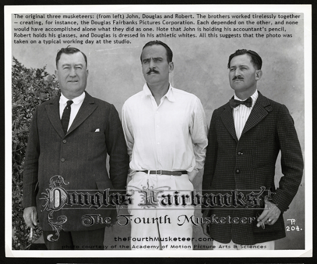 The three Fairbanks brothers worked together their entire lives, building the entertainment industry, from the ground, up. Photo circa 1921.