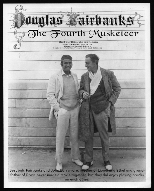 """Fairbanks with life-long buddy and fellow """"Merry Prankster"""" of early film years, John Barrymore. Photo circa 1924."""